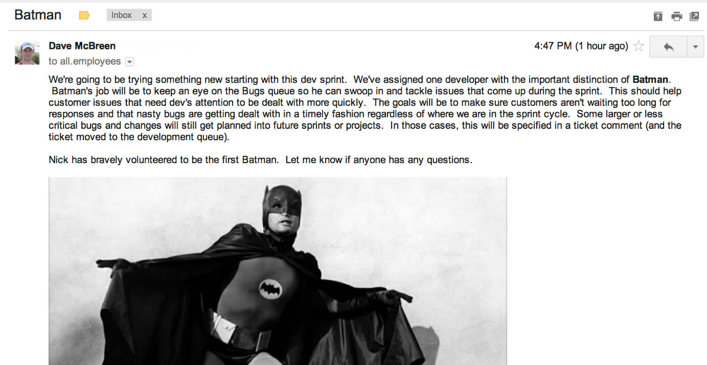 name.com batman for bugs in web development
