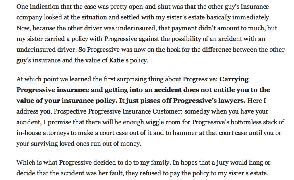progressive auto insurance debacle