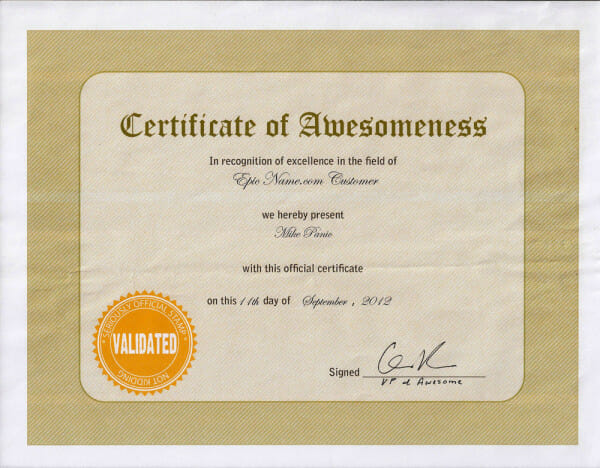 Earn a Certificate of Awesomeness: Tell Your Friends about Our ...