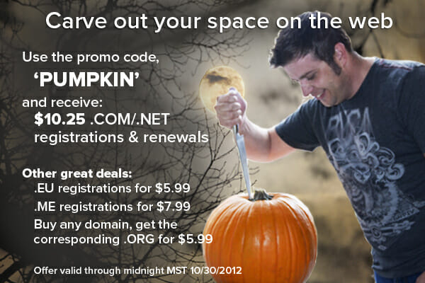 Domain name promo code October