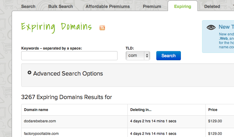 Expiring domain names