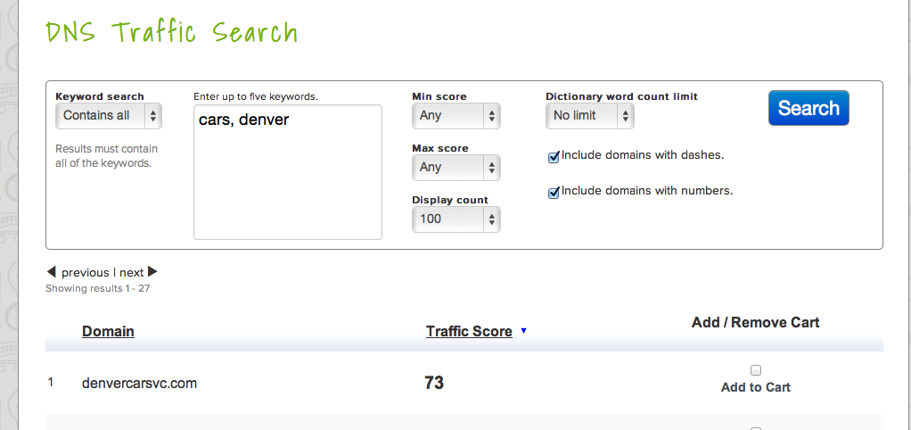 traffic scores for domains