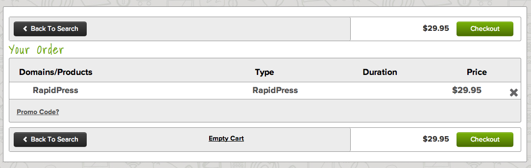name.com shopping cart with RapidPress
