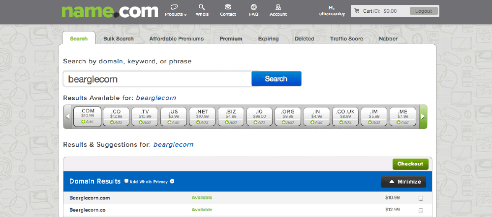 name.com domain search results page