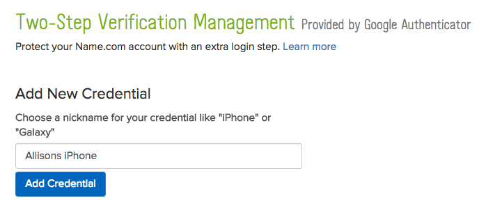 Add new credential screenshot