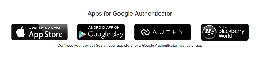Authenticator apps screenshot