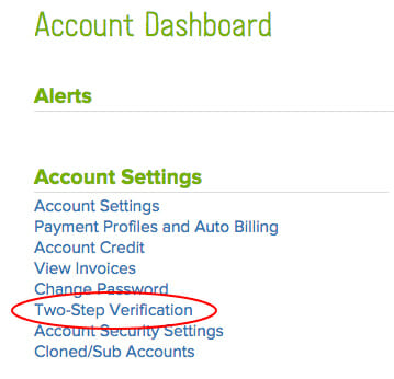 Account dashboard screenshot