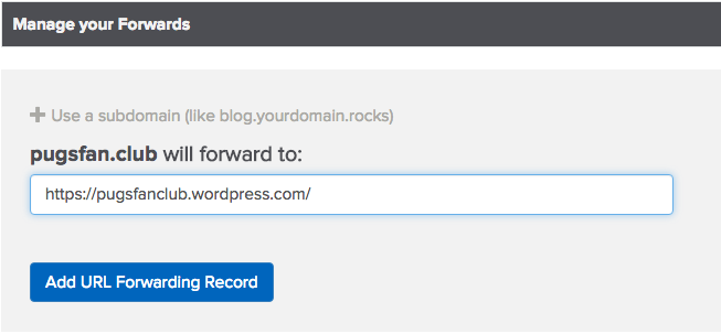 select forward url screenshot