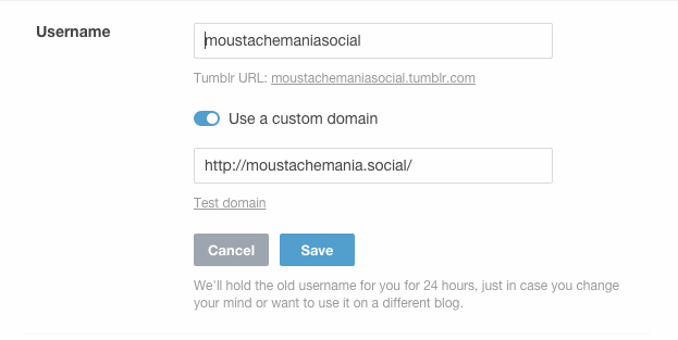 Tumblr Use custom domain screenshot