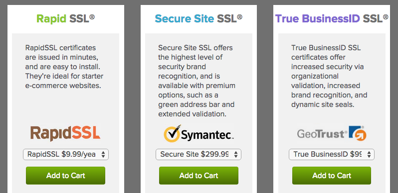 ssl certificate options