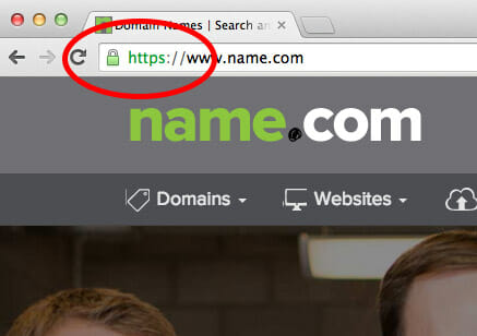 Screenshot of name.com site secured with SSL certificate