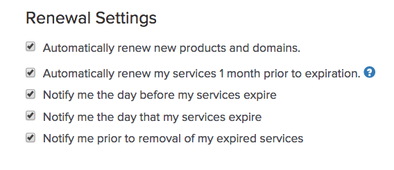 renewal settings