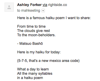 Ashley learns about haikus