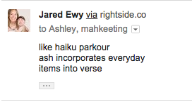 like haiku parkour/ash incorporates everyday/terms into verse