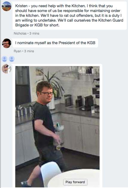 It is suggested that a Kitchen Guard Brigade (Suspiciously shortened to KGB) be formed. Jon Liu photoshops Ryan's head onto Ryan's body. Wait, what?