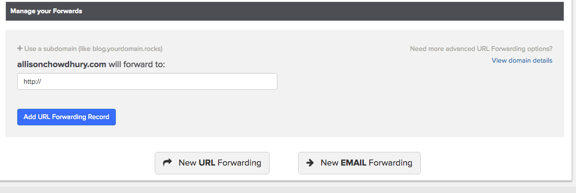 New email forwarding button