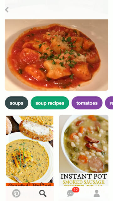 pinterest lens search gnocchi