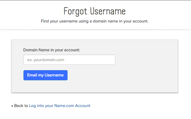 Recover username screenshot