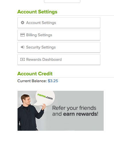 Referral program in sidebar
