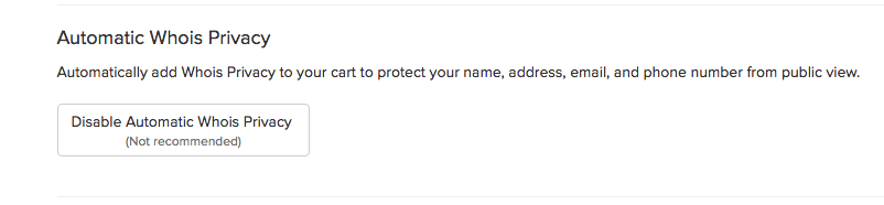 Automatic Whois Privacy