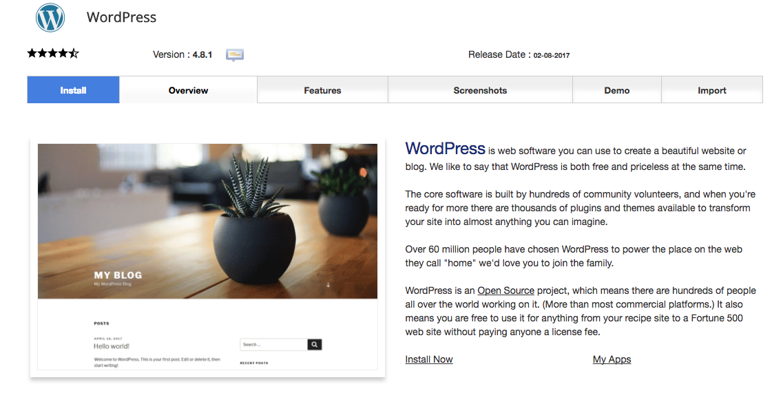 WordPress script overview page