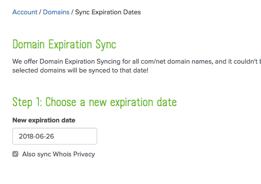 Expiration date sync