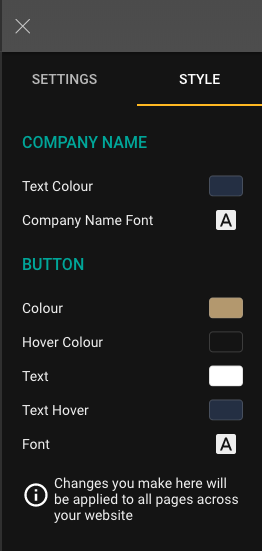Click Style cab on the sidebar